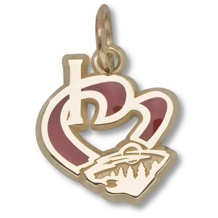 """Minnesota Wild """"I Heart Wild"""" Enameled Charm - 10KT Gold Jewelry"""