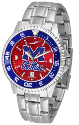 Mississippi (Ole Miss) Rebels Competitor AnoChrome Men's Watch with Steel Band and Colored Bezel