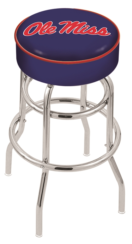 "Mississippi (Ole Miss) Rebels (L7C1) 25"" Tall Logo Bar Stool by Holland Bar Stool Company (with Double Ring Swivel Chrome Base)"