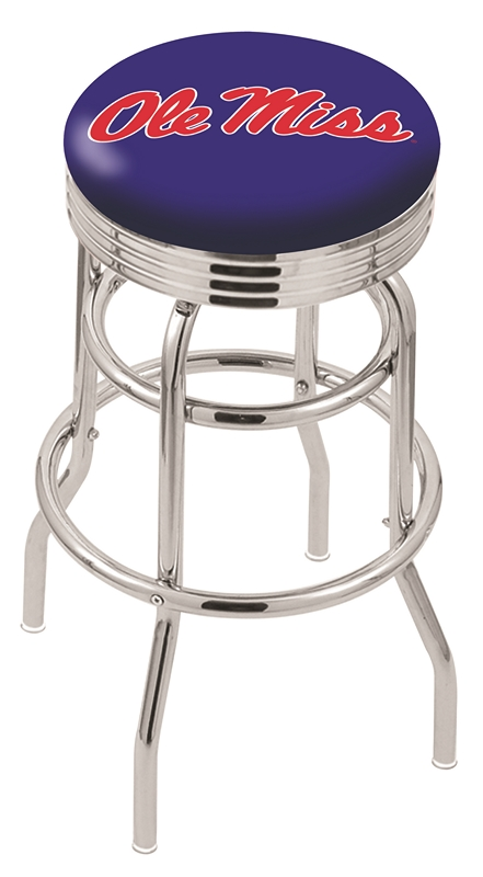 "Mississippi (Ole Miss) Rebels (L7C3C) 25"" Tall Logo Bar Stool by Holland Bar Stool Company (with Double Ring Swivel Chrome Base)"