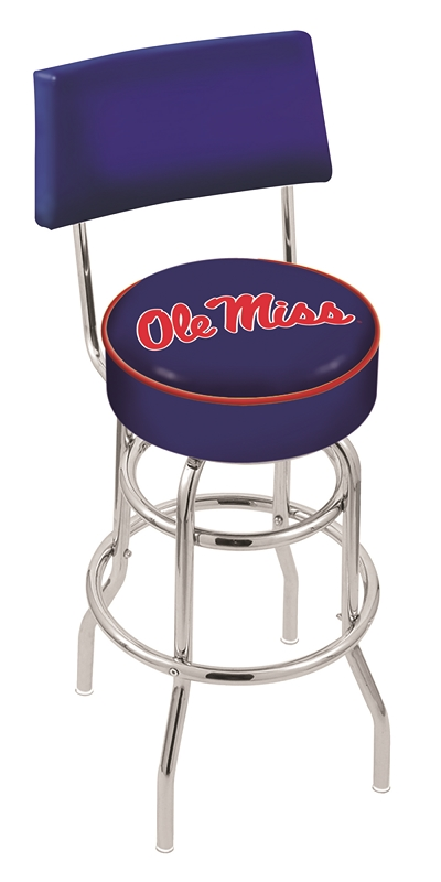 "Mississippi (Ole Miss) Rebels (L7C4) 25"" Tall Logo Bar Stool by Holland Bar Stool Company (with Double Ring Swivel Chrome Base and Chair Seat Back)"