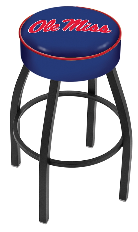 "Mississippi (Ole Miss) Rebels (L8B1) 25"" Tall Logo Bar Stool by Holland Bar Stool Company (with Single Ring Swivel Black Solid Welded Base)"