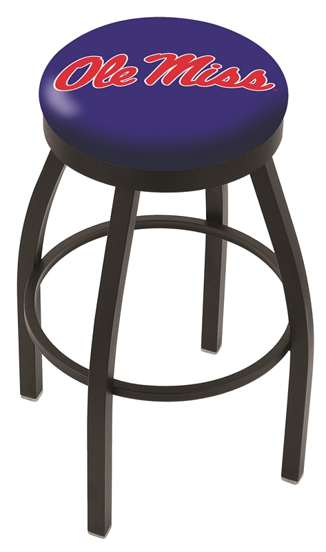"""Mississippi (Ole Miss) Rebels (L8B2B) 25"""" Tall Logo Bar Stool by Holland Bar Stool Company (with Single Ring Swivel Black Solid Welded Base)"""