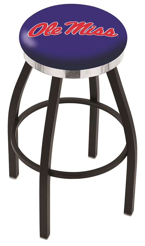 "Mississippi (Ole Miss) Rebels (L8B2C) 25"" Tall Logo Bar Stool by Holland Bar Stool Company (with Single Ring Swivel Black Solid Welded Base)"