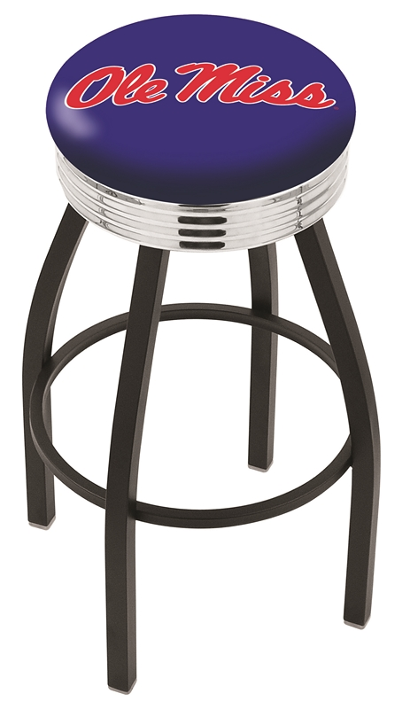 "Mississippi (Ole Miss) Rebels (L8B3C) 25"" Tall Logo Bar Stool by Holland Bar Stool Company (with Single Ring Swivel Black Solid Welded Base)"
