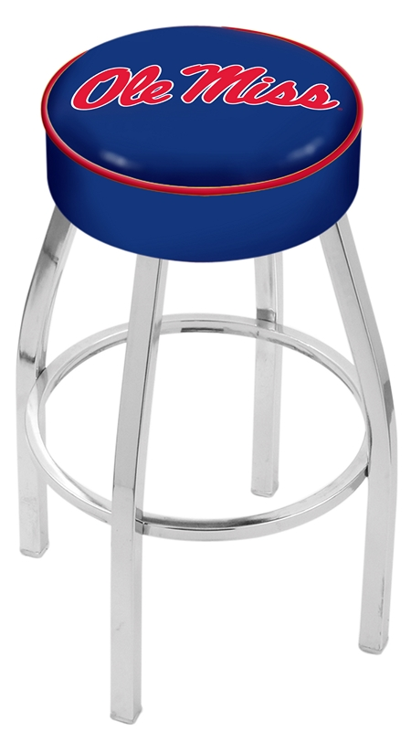 "Mississippi (Ole Miss) Rebels (L8C1) 25"" Tall Logo Bar Stool by Holland Bar Stool Company (with Single Ring Swivel Chrome Solid Welded Base)"