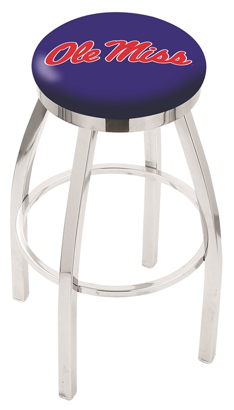 "Mississippi (Ole Miss) Rebels (L8C2C) 30"" Tall Logo Bar Stool by Holland Bar Stool Company (with Single Ring Swivel Chrome Solid Welded Base)"