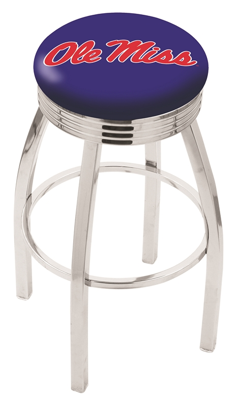 "Mississippi (Ole Miss) Rebels (L8C3C) 25"" Tall Logo Bar Stool by Holland Bar Stool Company (with Single Ring Swivel Chrome Solid Welded Base)"