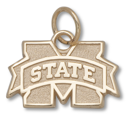 """Mississippi State Bulldogs 3/8"""" """"M"""" Logo Charm - 10KT Gold Jewelry"""