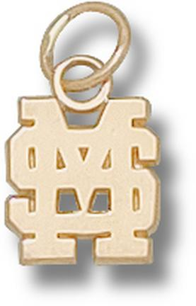 "Mississippi State Bulldogs Interlocking ""MS"" 3/8"" Charm - 14KT Gold Jewelry"