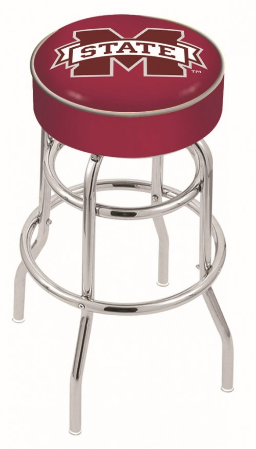 "Mississippi State Bulldogs (L7C1) 25"" Tall Logo Bar Stool by Holland Bar Stool Company (with Double Ring Swivel Chrome Base)"