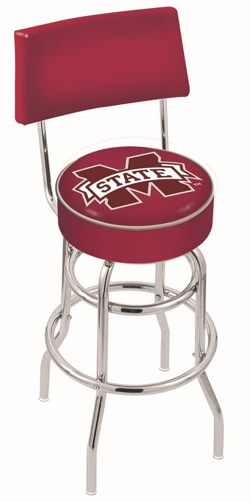 "Mississippi State Bulldogs (L7C4) 25"" Tall Logo Bar Stool by Holland Bar Stool Company (with Double Ring Swivel Chrome Base and Chair Seat Back)"