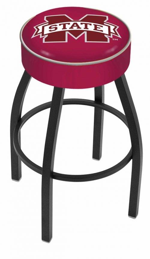 "Mississippi State Bulldogs (L8B1) 25"" Tall Logo Bar Stool by Holland Bar Stool Company (with Single Ring Swivel Black Solid Welded Base)"
