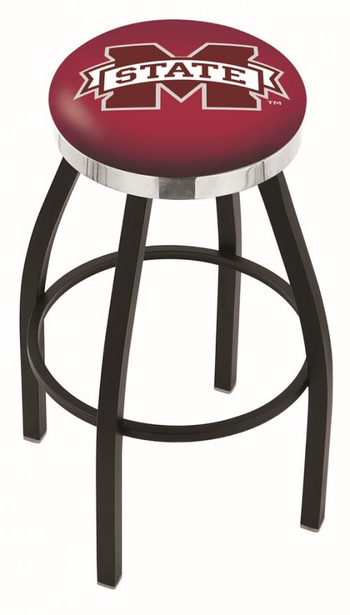 """Mississippi State Bulldogs (L8B2C) 30"""" Tall Logo Bar Stool by Holland Bar Stool Company (with Single Ring Swivel Black Solid Welded Base)"""