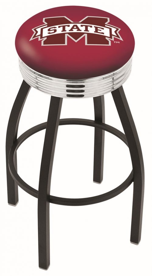 "Mississippi State Bulldogs (L8B3C) 25"" Tall Logo Bar Stool by Holland Bar Stool Company (with Single Ring Swivel Black Solid Welded Base)"