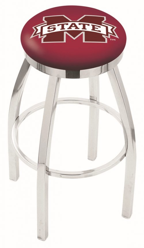 "Mississippi State Bulldogs (L8C2C) 30"" Tall Logo Bar Stool by Holland Bar Stool Company (with Single Ring Swivel Chrome Solid Welded Base)"