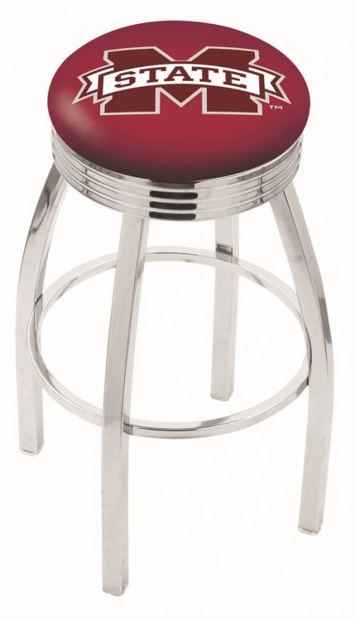 """Mississippi State Bulldogs (L8C3C) 30"""" Tall Logo Bar Stool by Holland Bar Stool Company (with Single Ring Swivel Chrome Solid Welded Base)"""