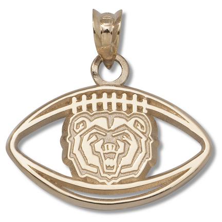 Missouri State University Bears Bear Head Pierced Football Pendant - 10KT Gold Jewelry