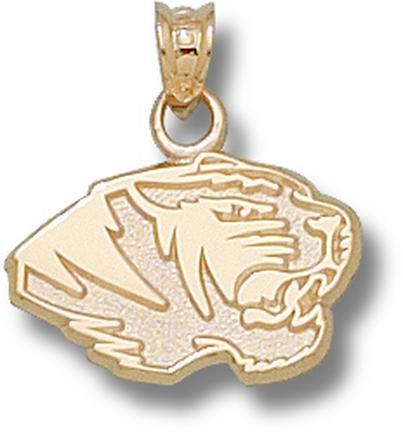 """Missouri Tigers 7/16"""" """"Tiger Head"""" Pendant - 10KT Gold Jewelry"""