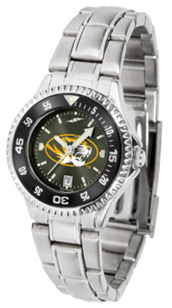 Missouri Tigers Competitor AnoChrome Ladies Watch with Steel Band and Colored Bezel
