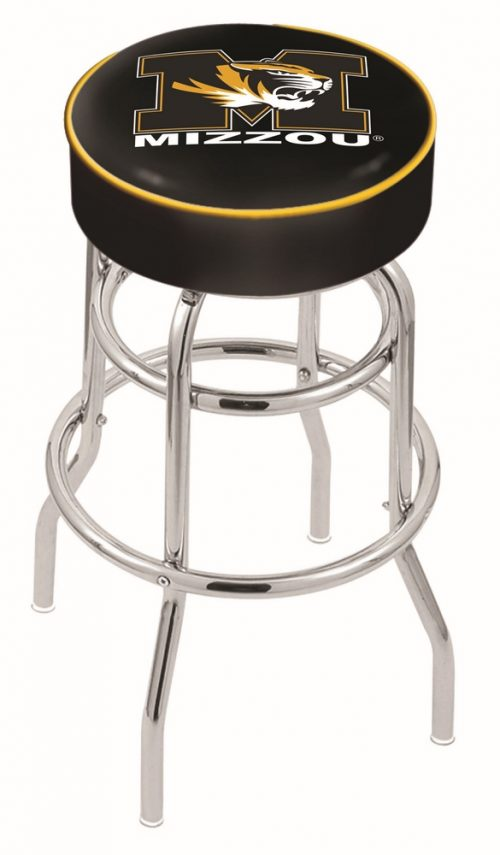 "Missouri Tigers (L7C1) 25"" Tall Logo Bar Stool by Holland Bar Stool Company (with Double Ring Swivel Chrome Base)"