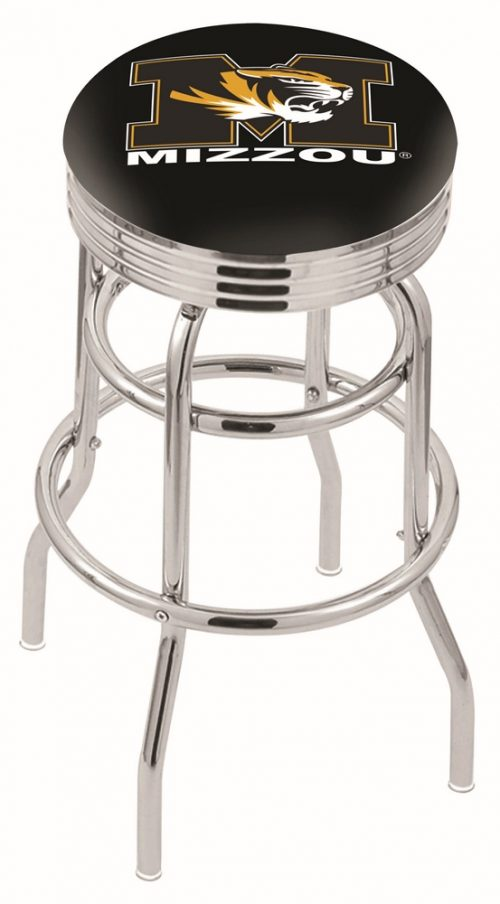 "Missouri Tigers (L7C3C) 25"" Tall Logo Bar Stool by Holland Bar Stool Company (with Double Ring Swivel Chrome Base)"