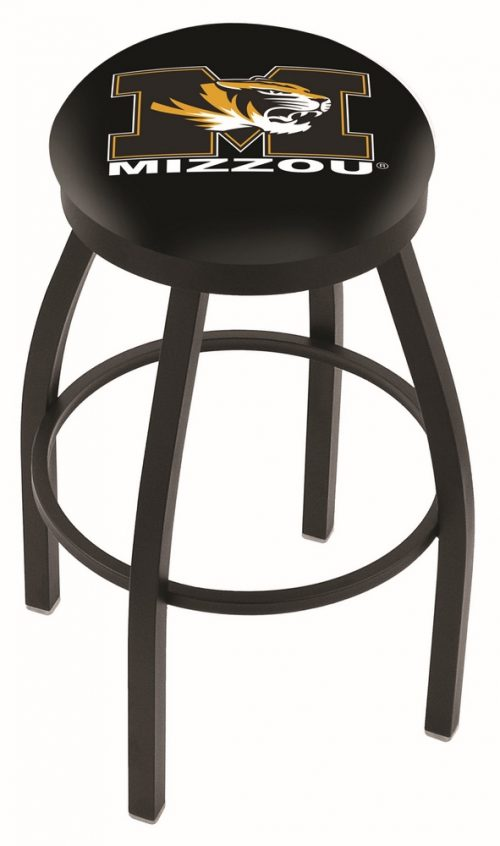 "Missouri Tigers (L8B2B) 25"" Tall Logo Bar Stool by Holland Bar Stool Company (with Single Ring Swivel Black Solid Welded Base)"