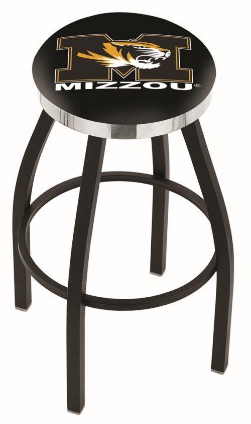 "Missouri Tigers (L8B2C) 25"" Tall Logo Bar Stool by Holland Bar Stool Company (with Single Ring Swivel Black Solid Welded Base)"
