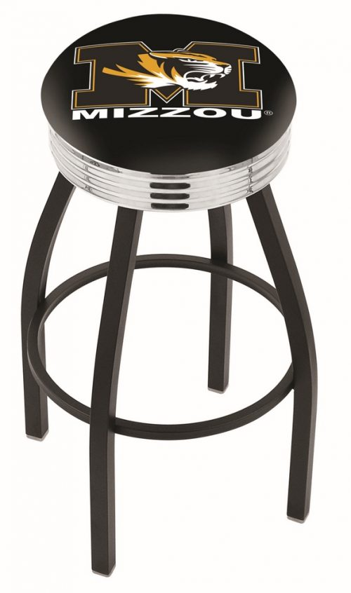 "Missouri Tigers (L8B3C) 30"" Tall Logo Bar Stool by Holland Bar Stool Company (with Single Ring Swivel Black Solid Welded Base)"