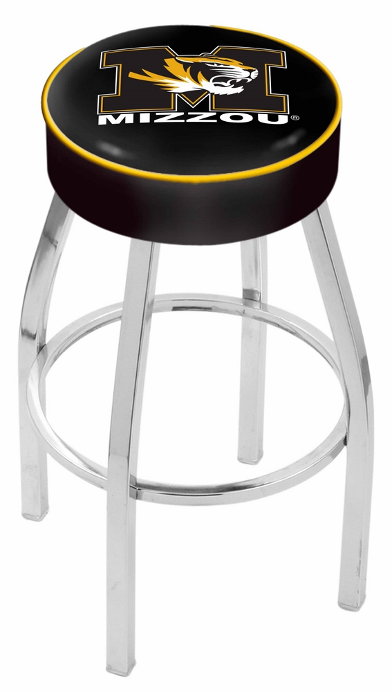 """Missouri Tigers (L8C1) 25"""" Tall Logo Bar Stool by Holland Bar Stool Company (with Single Ring Swivel Chrome Solid Welded Base)"""