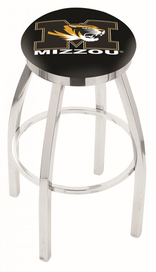"Missouri Tigers (L8C2C) 30"" Tall Logo Bar Stool by Holland Bar Stool Company (with Single Ring Swivel Chrome Solid Welded Base)"