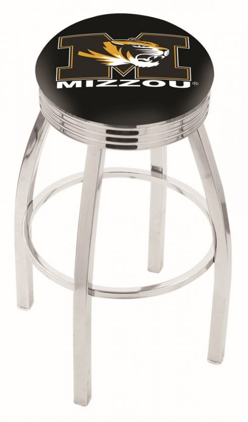 "Missouri Tigers (L8C3C) 25"" Tall Logo Bar Stool by Holland Bar Stool Company (with Single Ring Swivel Chrome Solid Welded Base)"
