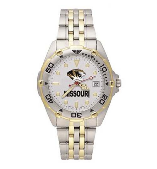 """Missouri Tigers """"MO with Tiger Head"""" All Star Watch with Stainless Steel Band - Men's"""