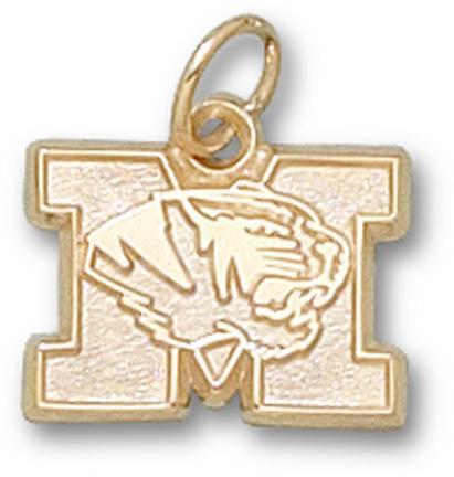 """Missouri Tigers New """"M with Tiger Head"""" 3/8"""" Charm - 10KT Gold Jewelry"""