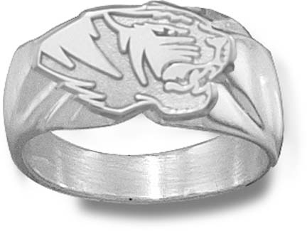 "Missouri Tigers ""Tiger Head"" 7/16"" Men's Ring - Sterling Silver Jewelry (Size 10 1/2)"