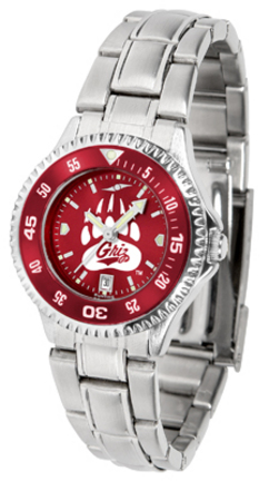 Montana Grizzlies Competitor AnoChrome Ladies Watch with Steel Band and Colored Bezel