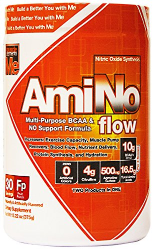 Muscle Elements 9230005 Amino Flow Multi-Purpose BCAA & Nitric Oxide Booster for Muscle Fullness Fruit Punch - 30 Serving