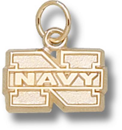 """Navy Midshipmen 5/16"""" """"N Navy"""" Charm - 10KT Gold Jewelry"""