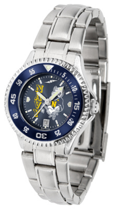 Navy Midshipmen Competitor AnoChrome Ladies Watch with Steel Band and Colored Bezel