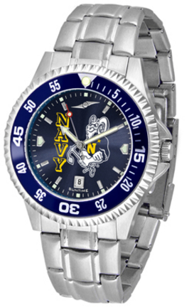 Navy Midshipmen Competitor AnoChrome Men's Watch with Steel Band and Colored Bezel