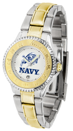 Navy Midshipmen Competitor Ladies Watch with Two-Tone Band