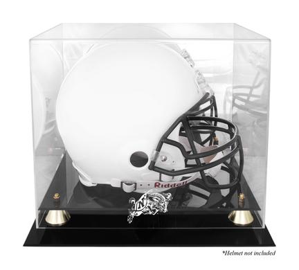 Navy Midshipmen Golden Classic Logo Football Helmet Display Case with Mirror Back