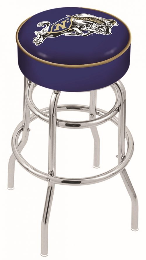 "Navy Midshipmen (L7C1) 25"" Tall Logo Bar Stool by Holland Bar Stool Company (with Double Ring Swivel Chrome Base)"