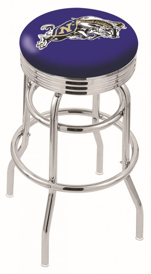 "Navy Midshipmen (L7C3C) 30"" Tall Logo Bar Stool by Holland Bar Stool Company (with Double Ring Swivel Chrome Base)"