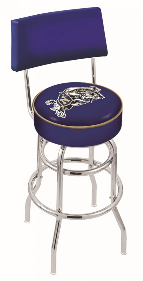 "Navy Midshipmen (L7C4) 25"" Tall Logo Bar Stool by Holland Bar Stool Company (with Double Ring Swivel Chrome Base and Chair Seat Back)"