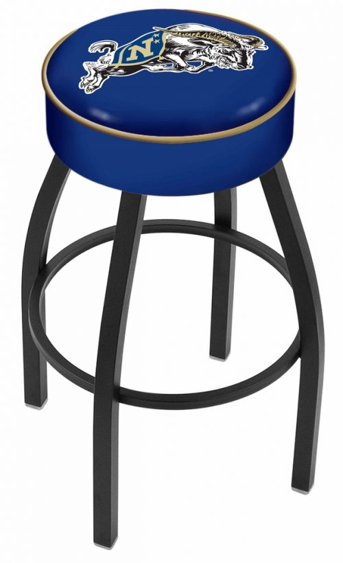 "Navy Midshipmen (L8B1) 30"" Tall Logo Bar Stool by Holland Bar Stool Company (with Single Ring Swivel Black Solid Welded Base)"