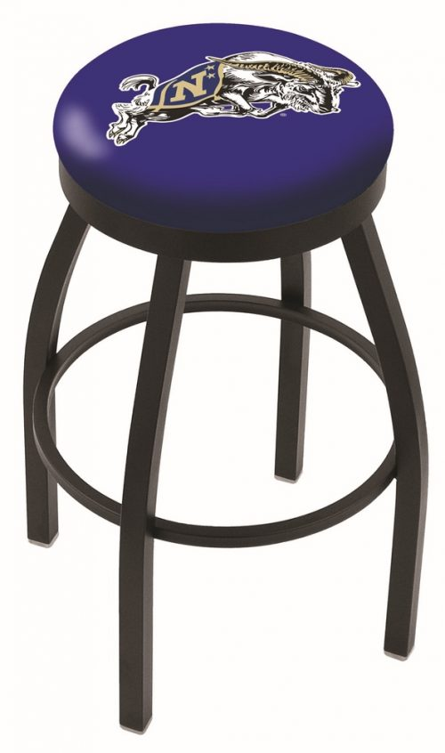 "Navy Midshipmen (L8B2B) 30"" Tall Logo Bar Stool by Holland Bar Stool Company (with Single Ring Swivel Black Solid Welded Base)"