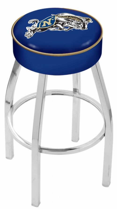"Navy Midshipmen (L8C1) 25"" Tall Logo Bar Stool by Holland Bar Stool Company (with Single Ring Swivel Chrome Solid Welded Base)"