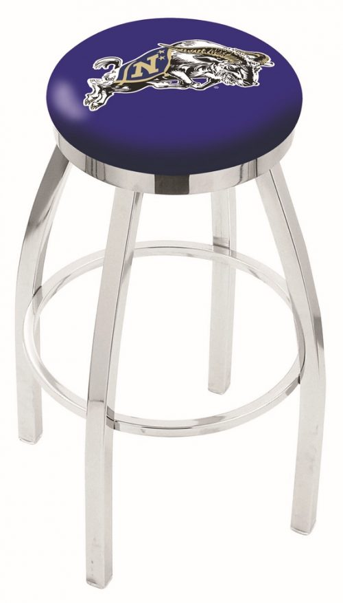 "Navy Midshipmen (L8C2C) 30"" Tall Logo Bar Stool by Holland Bar Stool Company (with Single Ring Swivel Chrome Solid Welded Base)"