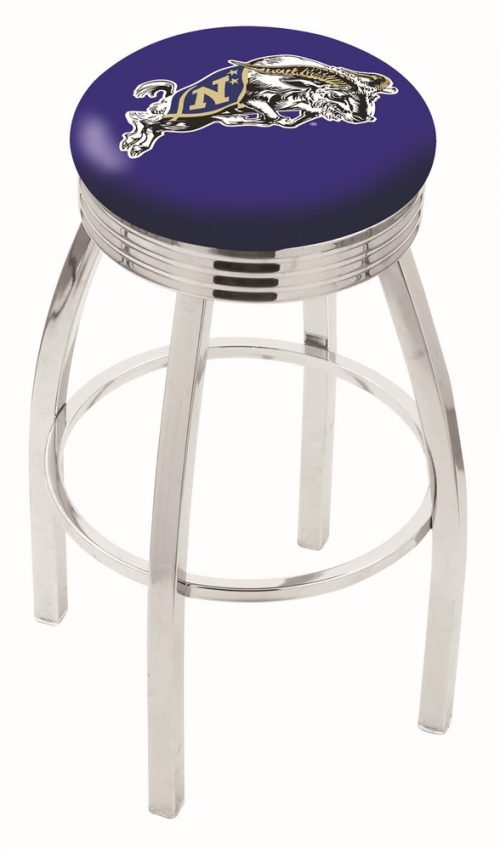 "Navy Midshipmen (L8C3C) 25"" Tall Logo Bar Stool by Holland Bar Stool Company (with Single Ring Swivel Chrome Solid Welded Base)"